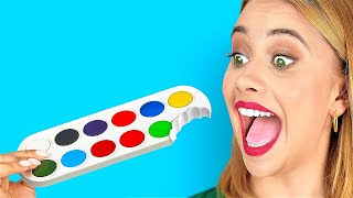FUN SNEAK FOOD INTO CLASS AND DIY SCHOOL SUPPLIES || Funny Food Pranks by 123 GO! FOOD