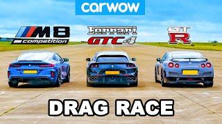 BMW M8 vs Nissan GT-R vs Ferrari V12 - DRAG RACE!