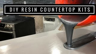 Countertop Resurfacing Kits with Metallic Epoxy in Silver, Pearl White and Black