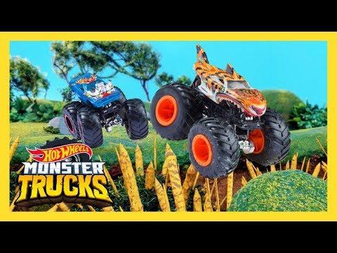 MONSTER TRUCKS JUMP SPEARS OF FEAR! | Monster Trucks Island | Hot Wheels