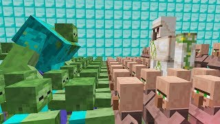 1000 ZOMBIE VS 1000 VILLAGER IN MINECRAFT MOB BATTLE REALISTIC MINECRAFT FOR KIDS