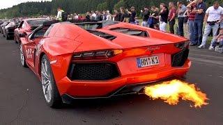 CRAZY Lamborghini Aventador LP700 Flames  Accelerations!