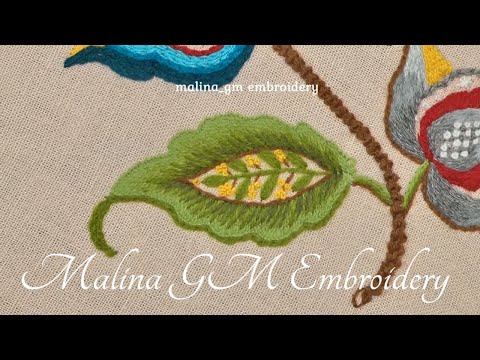 Hand Embroidery : Crewel Work Leaf Fantasy || Jacobean Embroidery