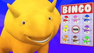WINTER - Learn Colors with Dino dinosaur and Dina by playing Snowman Bingo
