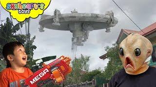 ALIEN INVASION in Toddler's house | Skyheart nerf war with aliens battle fight ufo attack kids