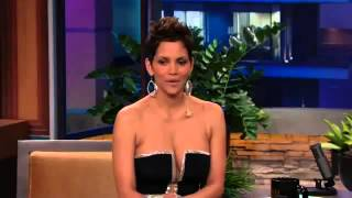 Halle Berry's low-cut dress stuns Jay Leno on Tonight Show