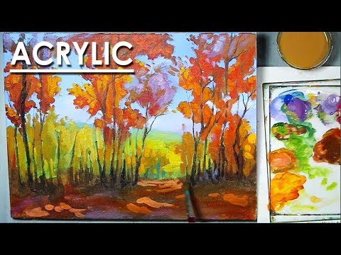 Autumn Forest Acrylic Painting on Canvas step by step
