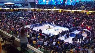 Alli Wilsbacher singing at Pacer's game