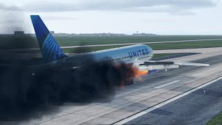 United Airlines B777 Flight UA328 engine catches fire at Denver Airport - Emergency Landing