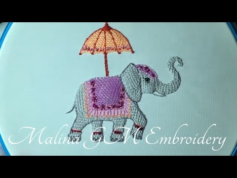 3D Embroidery : Indian elephant | Buttonhole Filling | (Detached stitch)