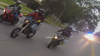 Street Bike VS Cops Chase Motorcycle Riders Wheeling Running From Cop Car Bikers Escape Police ROC