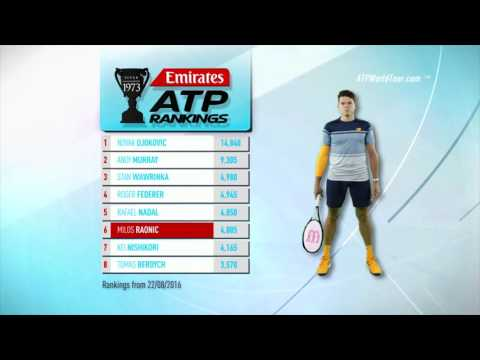 Emirates ATP Rankings 23 August 2016