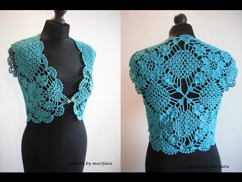 How To Crochet Flowers Bolero Shrug Jacket With Motifs Free Pattern