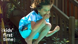 Kids Jump Off a Diving Board for the First Time | Kids First Time | HiHo Kids