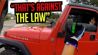dumb JEEP driver.. she got what she deserved :)