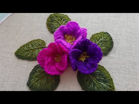 3D embroidery |Super Easy Woolen Flower | Amazing Trick — Wool Thread | New Design