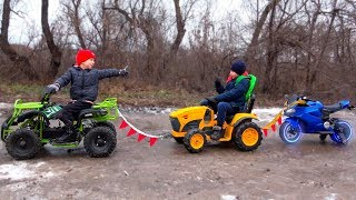 Funny Kids Ride on Cars / Pretend Play with Towing Motorbike /Power Wheels Childrens Baby Car