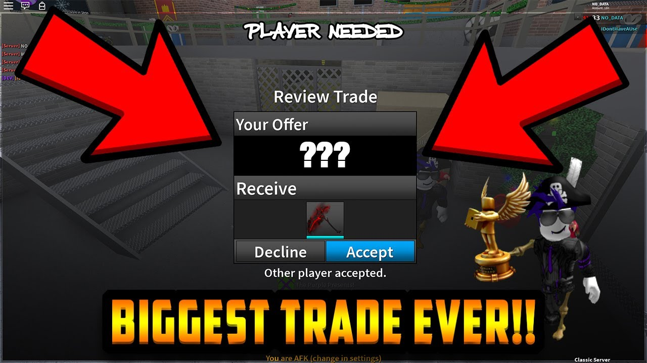 Trading For The Rarest Knife In The Entire Game Roblox