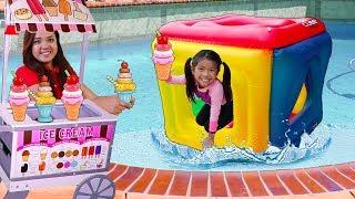 Emma Pretend Play w/ Giant Cube Swimming Pool Party Inflatable Float Toy