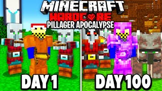 I Survived 100 Days in a PILLAGER APOCALYPSE in Hardcore Minecraft…