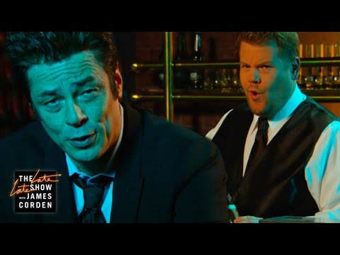 Playing on Benicio del Toro's new Heineken ad, James Corden, tending the bar, can't help but catch Benicio's striking look in his direction and lets his emotions overcome him.