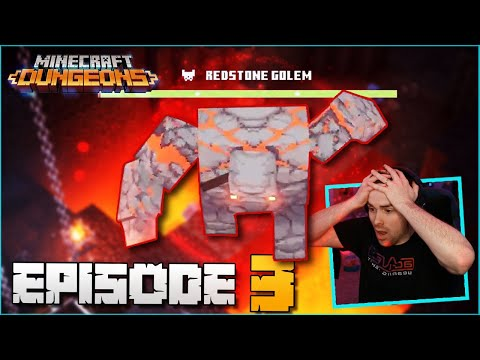 OUR FIRST BOSS THE REDSTONE GOLEM! MINECRAFT DUNGEONS BASICALLYIDOWRK, COURAGEJD, AND MOOSNUCKEL!