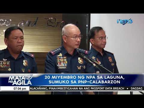 20 miyembro ng NPA sa Laguna, sumuko sa PNP Calabarzon