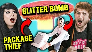 Adults React To Package Thief Vs. Glitter Bomb Trap Revenge Prank