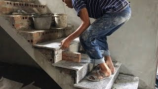 Amazing Techniques Smart Contruction Skills - Building And Installation A Granite Stairs