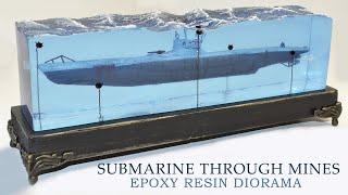 SUBMARINE PASSING THROUGH MINES DIORAMA-Epoxy Resin Art