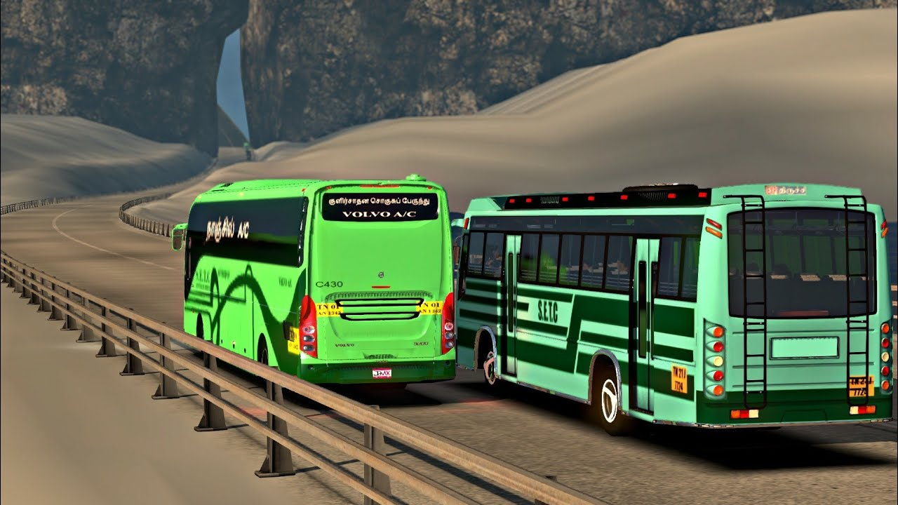 SETC Maruti Bus on Slippery Ice Road Chasing SETC Volvo bus | ETS2