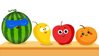 KidsCamp - Learn Colors With Dancing Fruits | Fruits Surprise Song - Ten Fruits on the Shelf