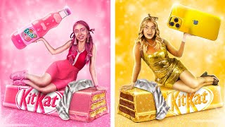 Gold Girl vs Pink Girl Challenge! Everything in Only One Color All Day!
