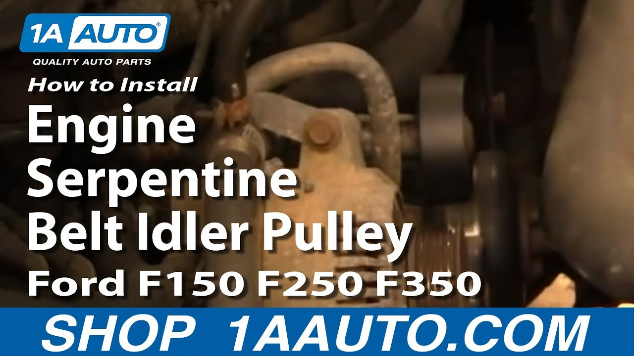 how to install replace engine serpentine belt idler pulley ford f150 f250 f350 92 96. Black Bedroom Furniture Sets. Home Design Ideas