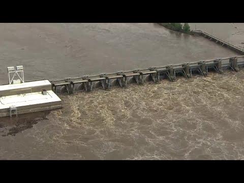 Barges loose on Arkansas River near Webbers Falls, Oklahoma