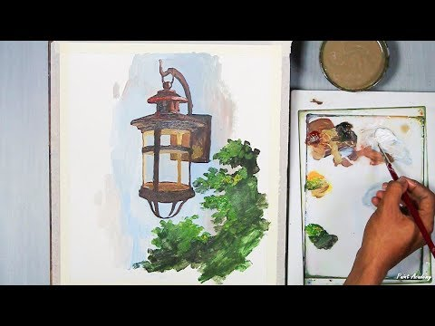 Old Lantern Painting in Acrylic