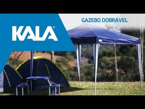 Tenda Gazebo Azul em Poliéster 3X3M Dobrável 103888 Kala - Vídeo explicativo
