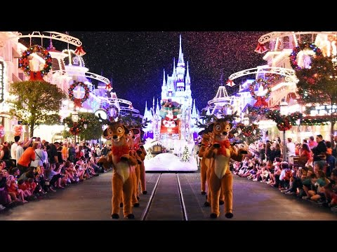 2016 Mickey's Once Upon A Christmastime Parade at Very Merry Christmas Party - w/ Frozen, Cinderella
