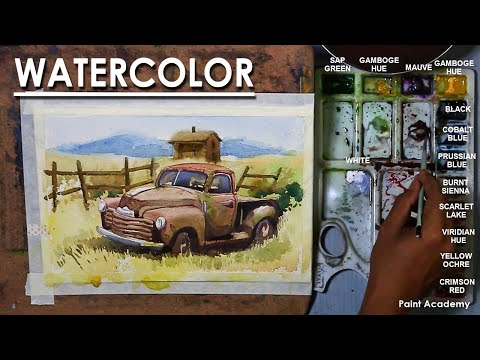 Watercolor Landscape : A Composition on Abandoned Car in the Farm