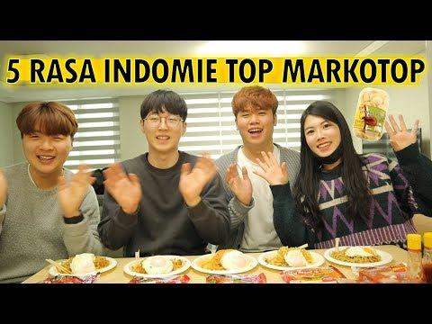 ORANG KOREA MENCOBA MAKAN 5 RASA INDOMIE TOP MARKOTOP I 인도네시아 라면 인도미 먹기