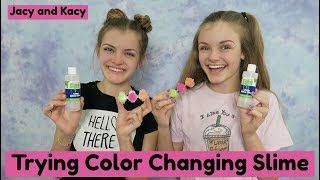 Trying Color Changing Slime ~ Jacy and Kacy