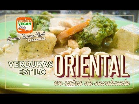 Verduras estilo oriental en salsa de cacahuate - Cocina Vegan Fácil