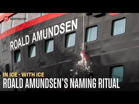 Naming MS Roald Amundsen in ice - with ice