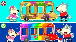 Wolf Family⭐️Wolfoo Makes DIY Rainbow School Bus from Cardboard 🚌 | For Kids | Kids Cartoon