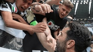 Incredible scenes! Gianlugi Buffon is given the perfect send off by Juventus players and fans