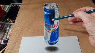Урок рисования 3D левитирующей банки Red Bull – лучший трюк  рисования на бумаге