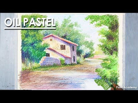 Oil Pastel Drawing | A Beautiful House Landscape with color information
