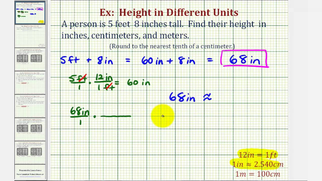 Ex Convert Height In Feet And Inches To Inches