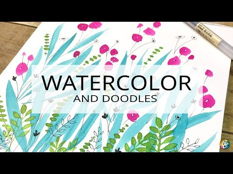 swatching, painting and doodling with new watercolor paints