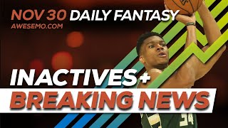 NBA DFS Live Before Lock - Sat 11/30 - FantasyDraft Yahoo FanDuel DraftKings - Awesemo.com
